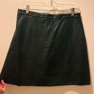 dark green pleather skirt- zara
